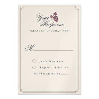Wine Vineyard Modern Vintage RSVP Card