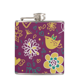 Wine Whimsical Birds and Flowers Hip Flask