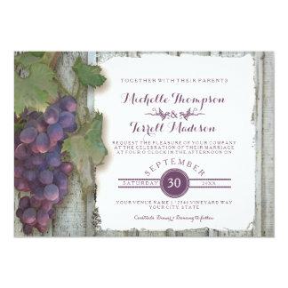 "Wine Winery Vineyard Grape Theme Fall Wedding 5"" X 7"" Invitation Card"