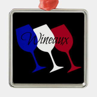 Wineaux French Flag Wine Glass Trio Metal Ornament