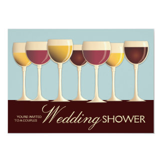 "Wineglass Selection Couples Wedding Shower in Teal 5"" X 7"" Invitation Card"