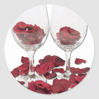 WineGlassRosePedals Classic Round Sticker