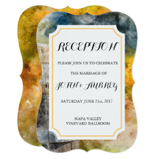 Winery and Vineyard Watercolor Wedding Reception Card