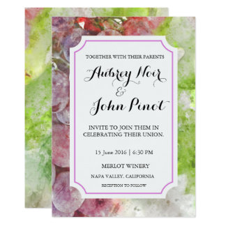 Winery or Vineyard Watercolor Wedding Invitation