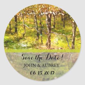 Winery or Vineyard Wedding Save the Date Classic Round Sticker