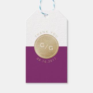 Winery purple minimalist modern monogram thanks gift tags