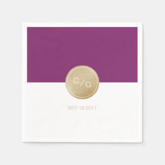 Winery purple minimalist modern wedding monogram paper napkins