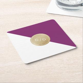 Winery purple minimalist modern wedding monogram square paper coaster