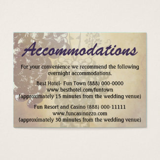 Winery Tuscan Wedding Accommodation Cards