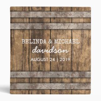 Winery Wedding Album | Rustic Wooden Barrel Vinyl Binders