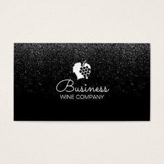 Winery Wine Company Confetti Modern Black Business Card