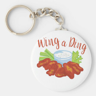 Wing A Ding Basic Round Button Keychain