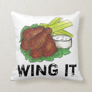 WING IT BBQ Buffalo NY Spicy Chicken Wings Food Throw Pillow