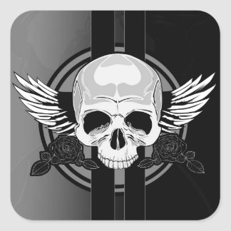 Wing Skull - BLACK & WHITE Square Sticker