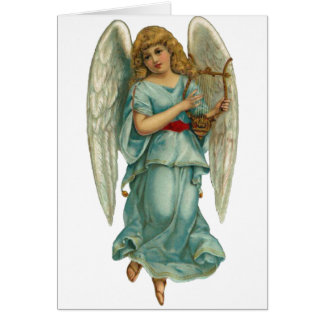 Winged Angel and Harp Card