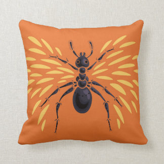 Winged Ant Fiery Orange Throw Pillow
