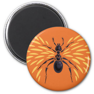 Winged Ant Insect Lover Fiery Orange Magnet