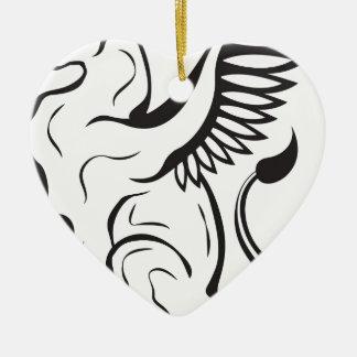 Winged Cat creature Ceramic Heart Ornament