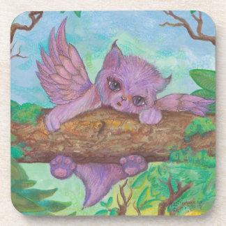 Winged Cat Fairy Elf Girl Unicorn Horn Magic Spell Coaster