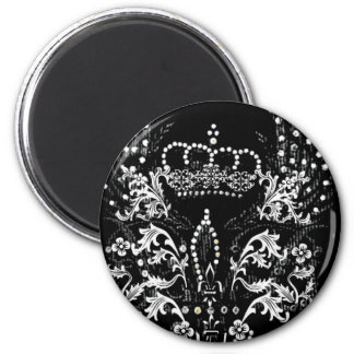 WINGED CROWN AND FLEUR DE LIS PRINT 2 INCH ROUND MAGNET