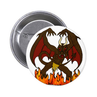 Winged Demon and Hell Flames Button
