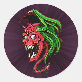 Winged Devil Skull Design Classic Round Sticker