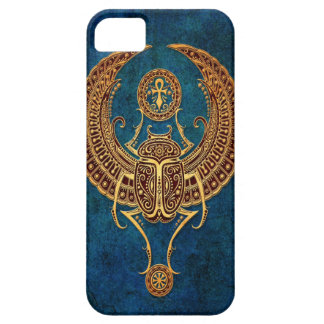 Winged Egyptian Scarab Beetle with Ankh - blue iPhone 5 Case