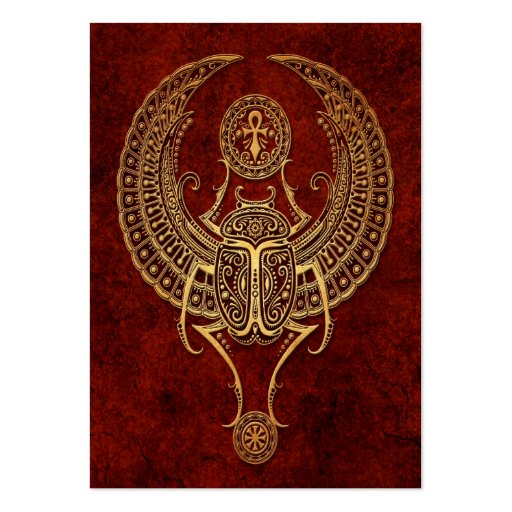 Winged Egyptian Scarab Beetle with Ankh - brown Business Card