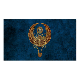 Winged Egyptian Scarab Beetle with Ankh on Blue Business Card