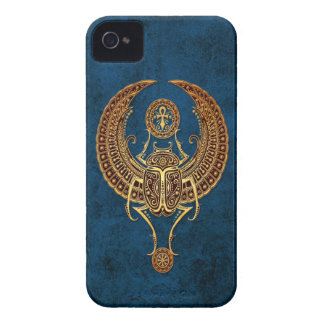 Winged Egyptian Scarab Beetle with Ankh on Blue iPhone 4 Case