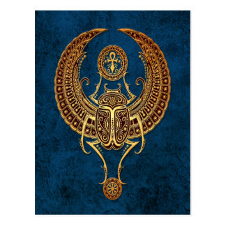 Winged Egyptian Scarab Beetle with Ankh on Blue Postcard
