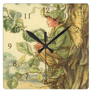 Winged Elm Fairy Sitting in a Tree Wall Clocks