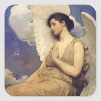 Winged Figure Vintage Angel Square Sticker