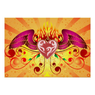 Winged Flaming Heart Poster