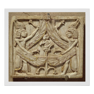 Winged genii, Assyrian Period, c.750 BC (ivory) Poster