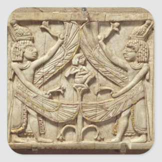Winged genii, Assyrian Period, c.750 BC (ivory) Square Sticker