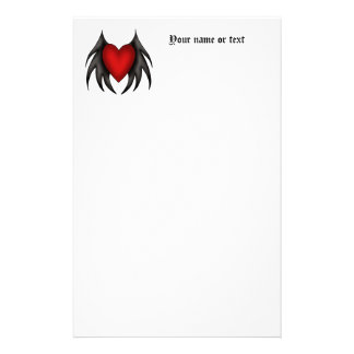 Winged gothic cute red heart ver 2 stationery