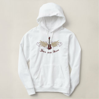 Winged Guitar Embroidered Hoodie