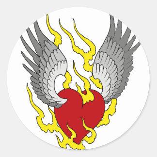 winged heart classic round sticker