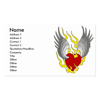 winged heart, Name, Address 1, Address 2, Conta... Business Cards