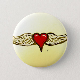 WINGED HEART PRINT by jill 2 Inch Round Button