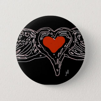 WINGED HEART RED ON WHITE by jill 2 Inch Round Button