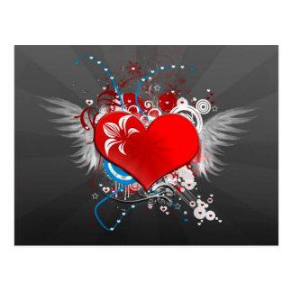 Winged Heart Tattoo Art Postcard