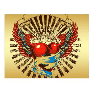 Winged heart tattoo postcard