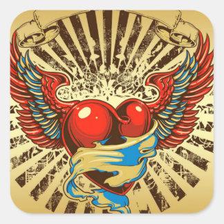 Winged heart tattoo square sticker