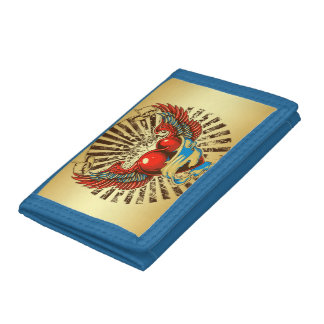 Winged heart tattoo trifold wallets