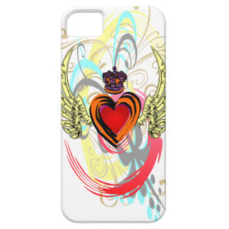 Winged Heart with Crown & Swirls iPhone 5 Case