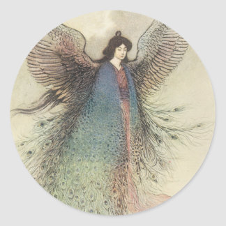 Winged Japanese Moon Maiden Classic Round Sticker