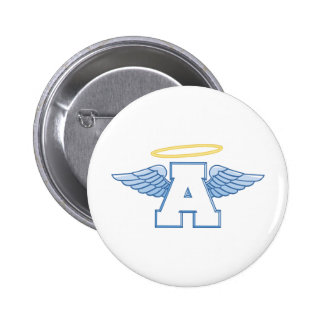 Winged Letter A 2 Inch Round Button