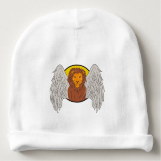 Winged Lion Head Circle Drawing Baby Beanie